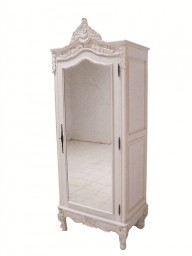 French Louis XV Mirrored One Door Armoire In Antique White