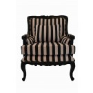 French Bergere Lux Armchair with Black and White Stripe Fabric