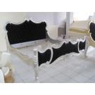 French Louis Carved King Bed Upholstered in Silver Leaf and Black Velvet