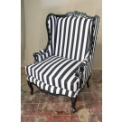 French Bergere Oreiles Louis XV Wing Back Chair in Black Finish, Black and White Stripe Fabric