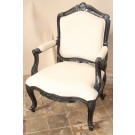 Stella Louis XV Armchair in Black Finish and Cream Linen Fabric