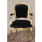 Edith Louis Armchair in Gold Leaf and Black Velvet Fabric