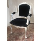 Edith Louis Armchair in Silver Leaf and Black Velvet Fabric